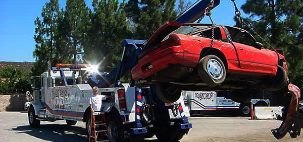 towing a wrecked car